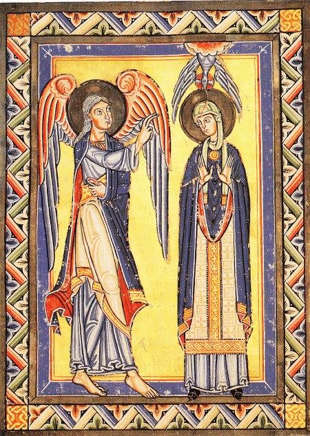 Annunciazione. Codice miniato conservato a Stoccarda.